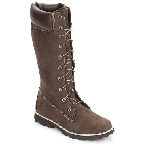 Chaussures Enfant Bottes ville Timberland GIRLS CLASSIC TALL LACE UP WITH SIDE ZIP Marron foncé