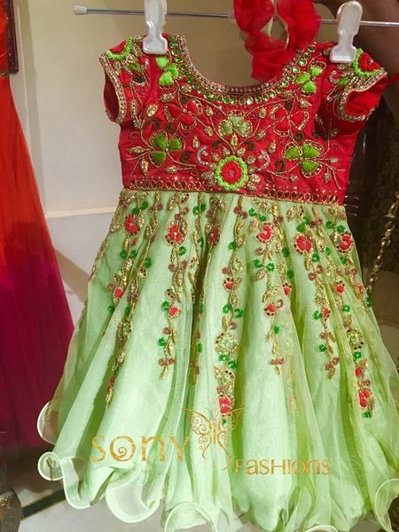 Light Green and Red Frock - Indian Dresses