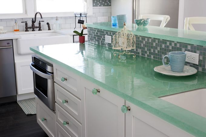 recycled translucent glass counters | OUTinDesign