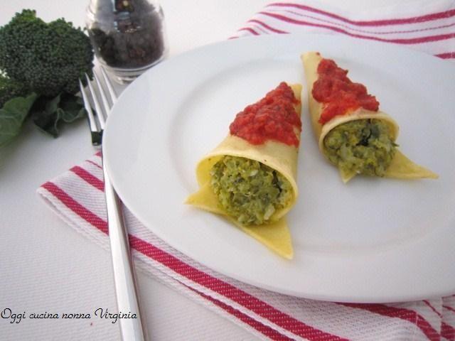 Coni di pasta al forno ai broccoli e taleggio