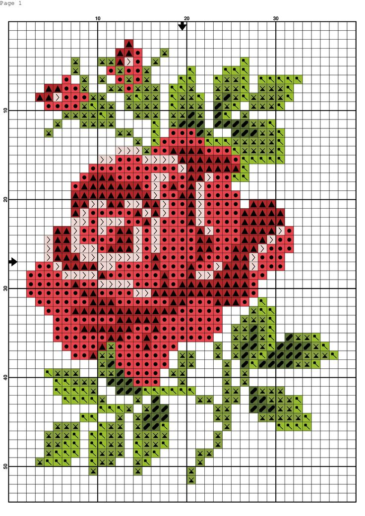 Cross stitch chart, a red rose with green leaves