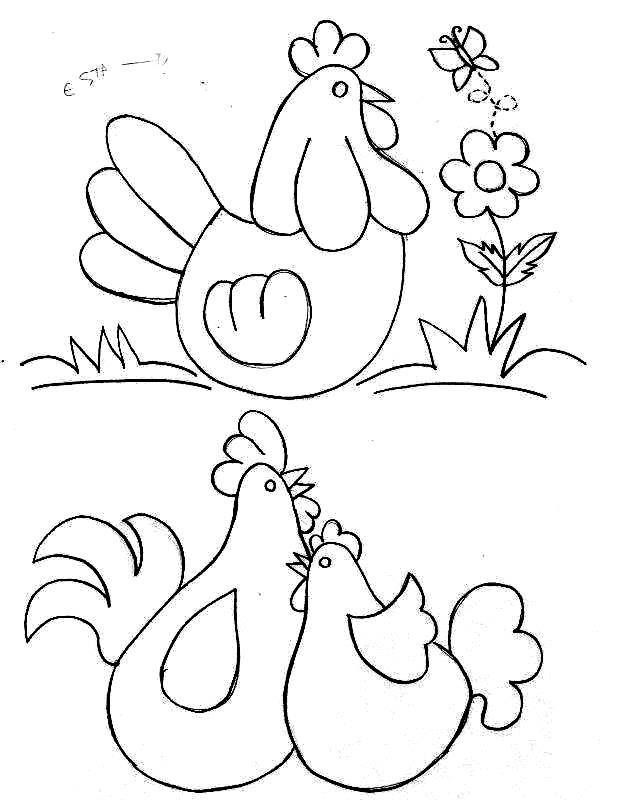 Rooster, hen, and chick.