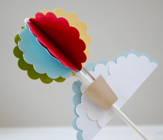 Hot air balloon cake topper by PaperPolaroid on Etsy, $18.00