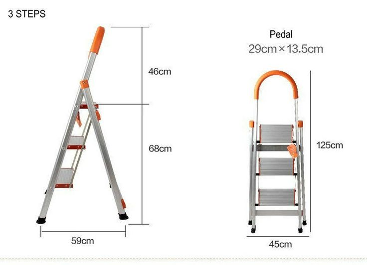 47.20$  Watch now - http://aliako.shopchina.info/1/go.php?t=1418323791 - 3 Steps Folding Light Type Aluminum Step Ladder Staircase, Ladder With Long Handrail, Rubber Feet, ABS Plastic Joints  #buychinaproducts