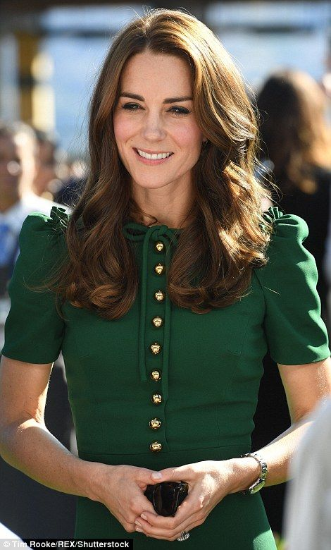 Gorgeous in green! Kate delights in Dolce & Gabbana dress #dailymail