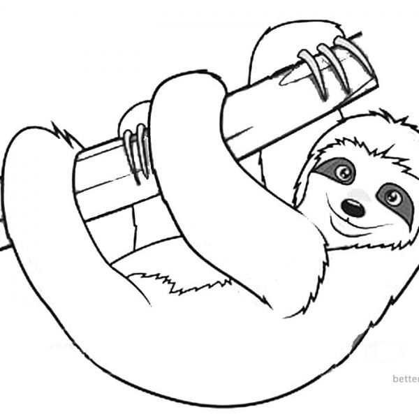 Sloth Coloring Pages Sloth Listen Music Free Printable Coloring Pages Coloring Pages Cute Coloring Pages Birthday Coloring Pages