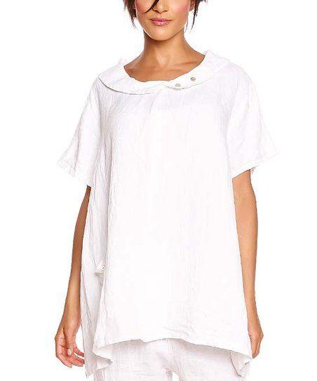 94acd506dd4 100% LIN   White Kayla Linen Tunic - Women in 2019   shirts   Linen ...