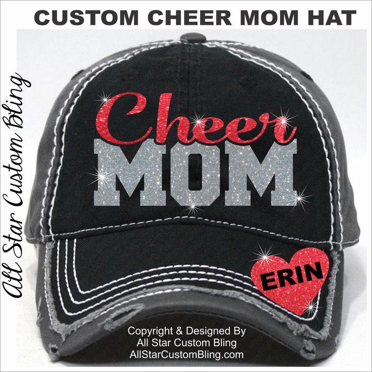 Glitter Cheer Mom Hat, Custom Cheer Mom Hat, Personalized Cheer Mom Hat, Cheer Mom Baseball Hat by AllStarCustomBling on Etsy https://www.etsy.com/listing/281736782/glitter-cheer-mom-hat-custom-cheer-mom