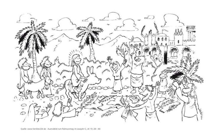 ausmalbild palmsonntag lesejahr c lk 192840 und lk