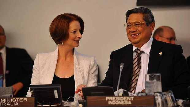 Prime Minister Julia Gillard meeting with Indonesian President Susilo Bambang Yudhoyono.