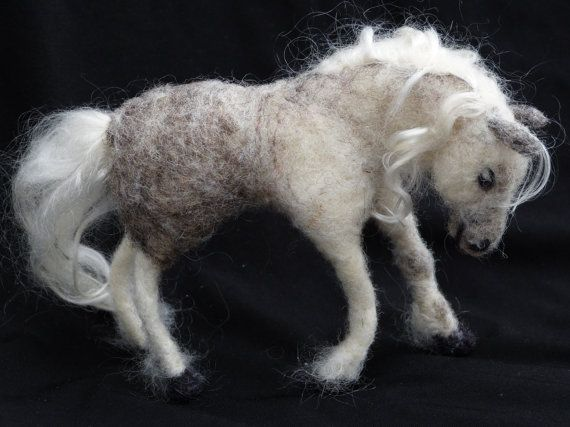 OOAK grey horse needle felted sculpture. Custom by Naturefelted, $110.00