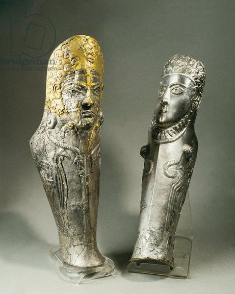 Gilded silver greaves from the Agighiol treasure. 4th century B.C., Romania, Bucharest, Muzeul National de Istorie al Romaniei (Archaeological and Art Museum), Geto-Dacian art Artwork-location: Bucharest, Muzeul National De Istorie Al Romaniei (Archaeological And Art Museum)