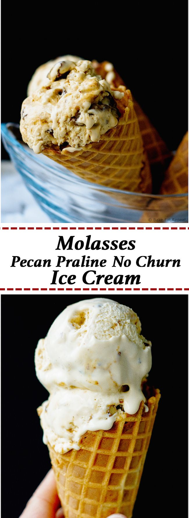 Molasses Pecan Praline Ice Cream - No churn molasses pecan praline ice cream that is super easy to make, and such a rich and creamy treat for a hot summer day!