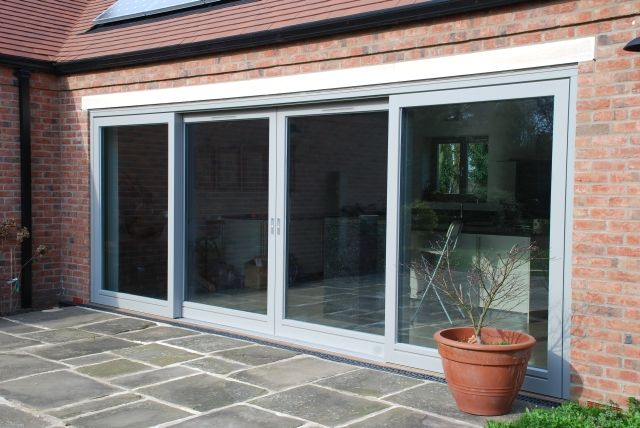 RAL 7030 stone grey 4 panel Thermo HS lift & slide door