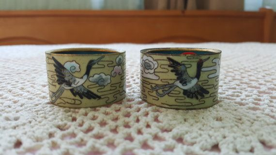 Pair of Two (2) Chinese Jingfa Cloisonne Napkin Rings with Flying Crane