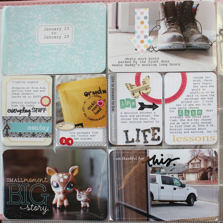 love the story split across two journaling cards