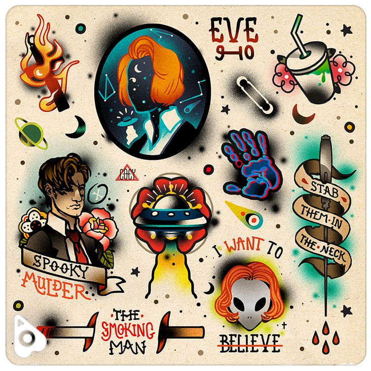 This fandom tattoo flash by Coey Kuhn perfect for the X-Files alien conspiracy theorist in your life. Join Dana Scully and Fox Mulder to let this otherworldly nerdy design destroy your social life,…