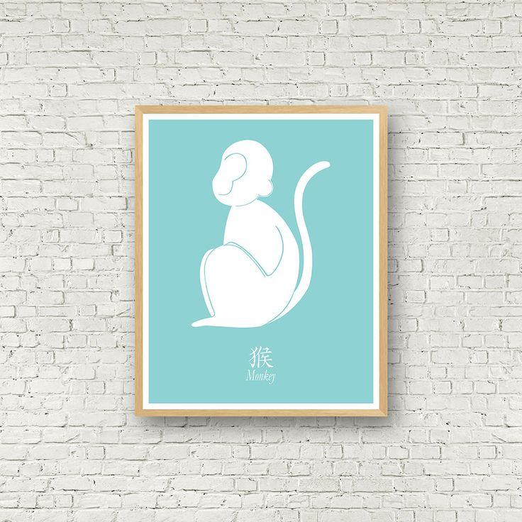 Année du singe, signe du zodiaque chinois, horoscope chinois, téléchargement instantané, décor vert et blanc, affiche singe, wall art animal de la boutique MamzelleJules sur Etsy