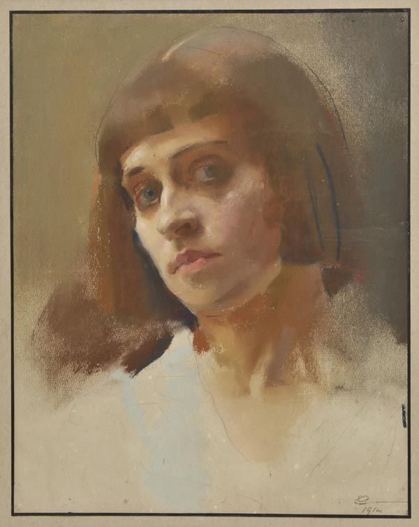 Edith Granger-Taylor, Self portrait, 1914, coloured pastel on laid paper, signed and dated 1914 lower right, 35.5 x 28cm (14 x 11ins), framed and glazed, with period framer`s label of Charles H. West, 117 Finchley Road, Swiss Cottage, London, to verso. Provenance: From the estate of the artist Gillian Wood, Frome, Somerset. (Dominic Winter Auctions)