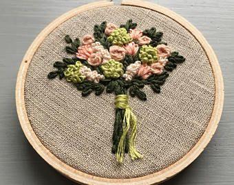 Los agricultores no mercado ramo 11 - bordado de flores, flores bordadas a mano, regalos debajo de 50, hortensias, rosas, verde lima, costura