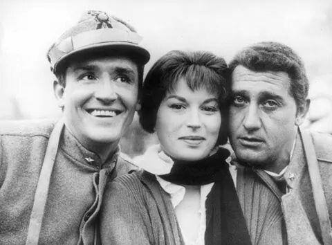 "Vittorio Gasman, Silvana Mangano e Alberto Sordi en el set de ""La Grande Guerra"" (M. Monicelli,1959)"