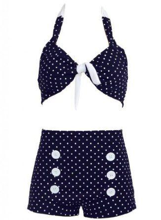 Navy Blue Polka Dot Retro Pin up Rockabilly Women's Bathing Suit Swimsuit Swimwear Bikini