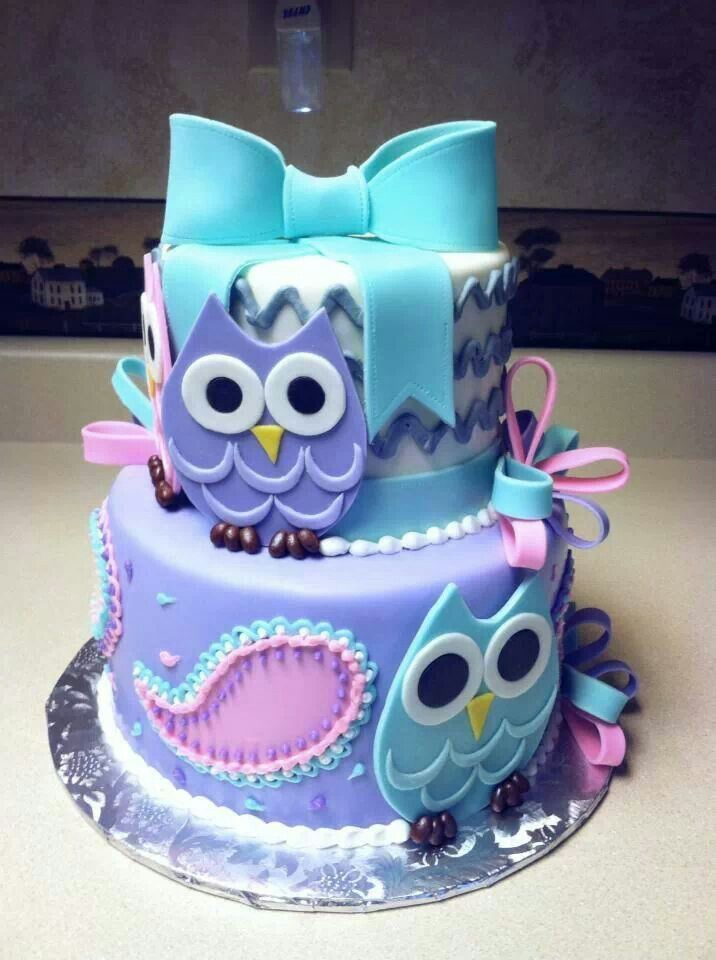 Owl cake Lexi's favorite purple/white/blue lil pink