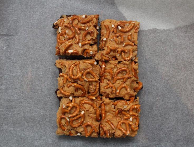 chocolate peanut butter pretzel brownies addictive more peanut butter ...