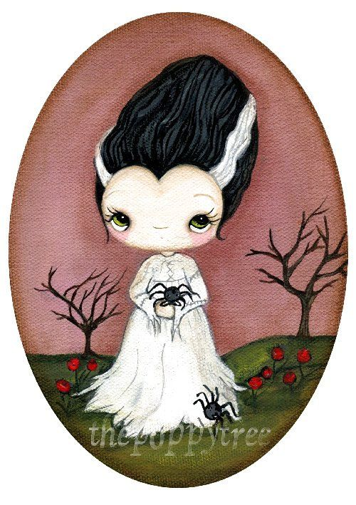 The Bride Of Frankenstein Print Cute Spider Girl Wall Art 5 x 7 by thepoppytree