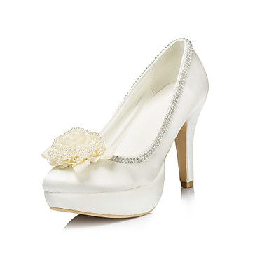 Satin Women's Wedding Stiletto Heel Platform Pumps/Heels With Rhinestone Shoes(More Colors)