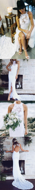Lace wedding dress, long wedding dress, mermaid wedding dress, split wedding dress, open back wedding dress, bridal dress, PD15371 #wedding #weddingdress #bridal #bride #bridaldress