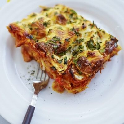 Lasagna with halloumi cheese and peppers (swedish recipe)