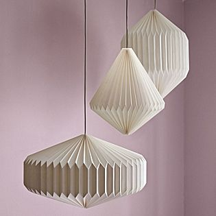 Origami Paper Pendants | Serena & Lily~I love the idea of grouping pendants together for a bright, soft light.