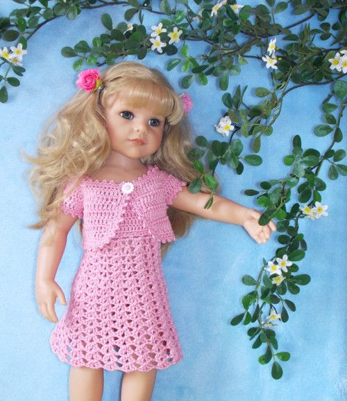 Háčkované šaty č.1 + bolerko-pro panenku GOTZ