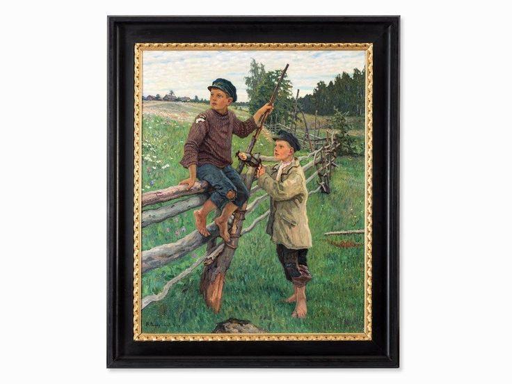 Nikolaj P. Bogdanov-Belsky, Gemälde, Bauernjungen, wohl 1920er Öl auf Leinwand Russland, wohl 1920