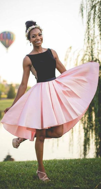 Black and Pink Short A Line Homecoming Dress,Graduation Dresses OKB85 #pink #black #highlow #short #simple
