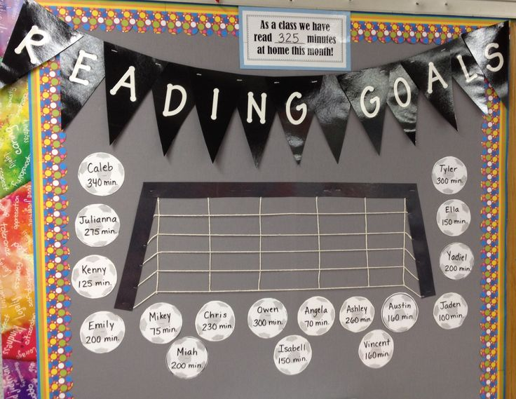 """Reading """"Goals"""" bulletin board...but with footballs :)"""
