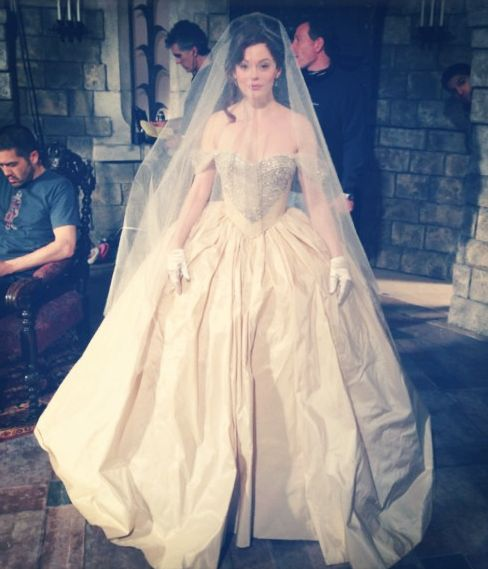 Rose McGowan (Young Cora) on the set of Once Upon A Time. #OUAT