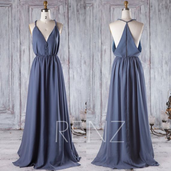 2016 V Neck Chiffon Bridesmaid Dress, Steel Blue Wedding Dress, A Line Maxi Dress, Spaghetti Straps Evening Gown Floor Length (H323)