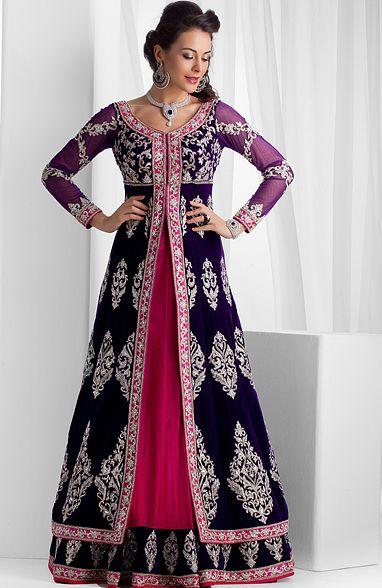 Pure velvet long jacket with net ghagra embellished with stones and zardozi work