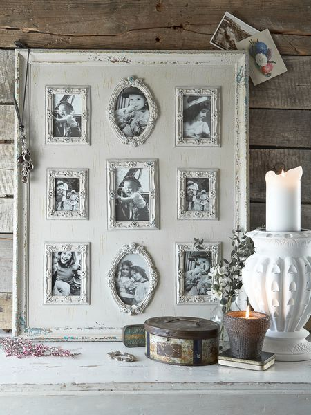 Small photo frames grouped into a larger frame will reduce clutter and is easier to dust.