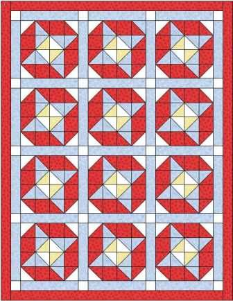 The square up quilt block, also known as the Next Door Neighbour block, makes a delightful quilt, made here with sashing to preserve the block design.