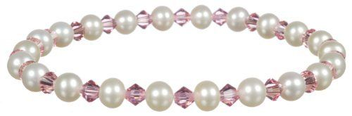 "White Freshwater Cultured Pearl and Crystallized Swarovski Elements October Birthstone Pink Tourmaline Colored Bicone Stretch Bracelet, 7.5"" Amazon Curated Collection. $21.00. Save 25%!"