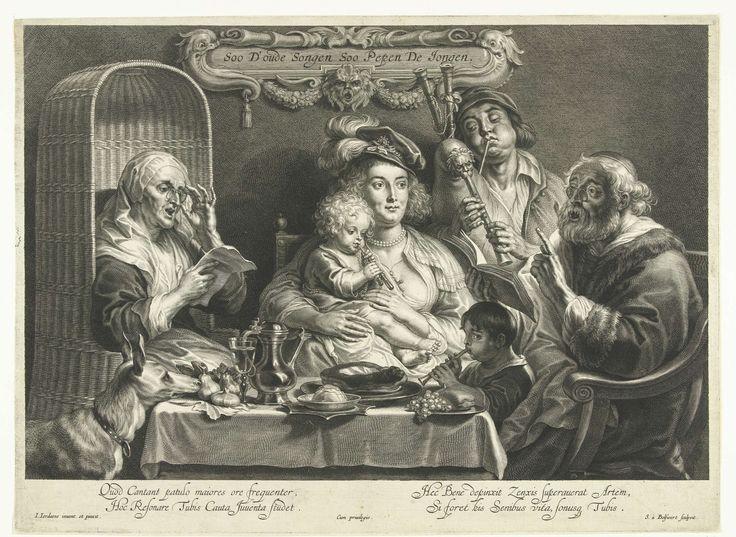 Schelte Adamsz. Bolswert   Zo de ouden zongen, zo piepen de jongen, Schelte Adamsz. Bolswert, 1638 - 1659   Een moeder zit met een klein kind dat fluit speelt op haar schoot aan een gedekte tafel. Naast haar blaast haar echtgenoot met bolle wangen op een doedelzak en een kleine jongen speelt op een fluit terwijl zijn grootvader en grootmoeder, beiden met bril, zingen. De zingende oude man geeft met een vinger de maat aan. Een grote hond rust met zijn snuit op de tafel en aanschouwt het…
