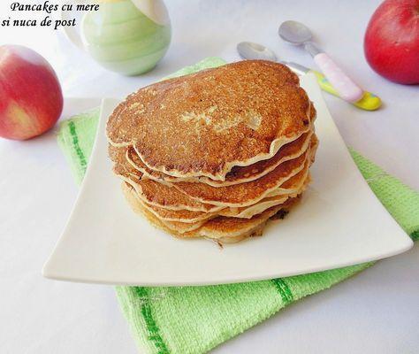 Reteta culinara Pancakes cu mere si nuca de post din categoriile Dulciuri diverse, Retete de post. Cu specific romanesc.. Cum sa faci Pancakes cu mere si nuca de post
