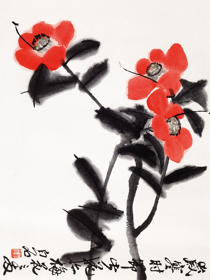 Beautfiul Chinese painting of a flower by Qui Baishi