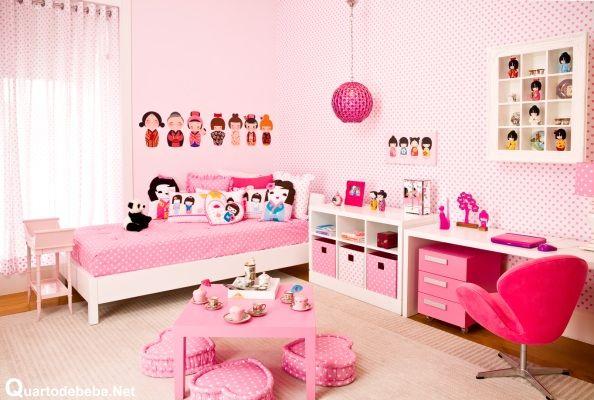 Quarto feminino rosa bonecas kokeshi