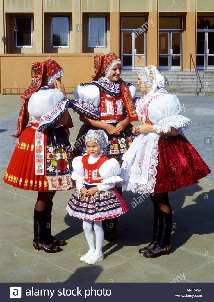 Moravian folk costume in feast Dubnany Czech Republic Stock Photo
