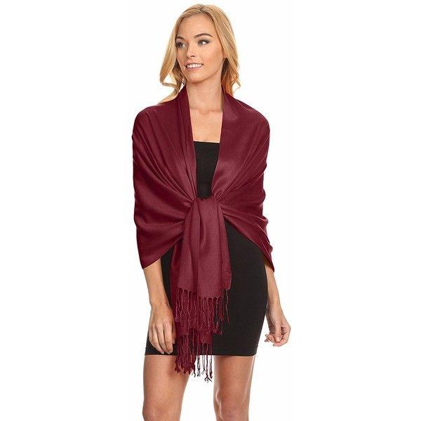 Simlu Burgundy Pashmina Shawls and Wraps for Wedding Burgundy Scarf... ($13) ❤ liked on Polyvore featuring accessories, scarves, burgundy shawl, wrap shawl, shawl scarves, wrap scarves and burgundy scarves