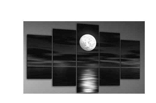 hot!! Oil painting on canvas- Great 5 piece Wall Art-White Moon over Water. $54
